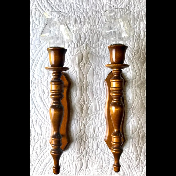 Vintage Pair Of Wooden Wall Mount Candle Holders